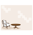 Antique Leather Armchair in Living Room Background vector image