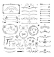 Hand drawn floral page elements Swirls ribbons vector image