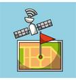 gps navigation satellite map pin flag location vector image