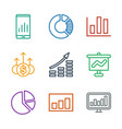 9 graph icons vector image vector image