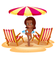 A tan lady at the beach near the beach umbrella vector image