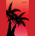 abstract landscape of palm tree silhouette vector image vector image