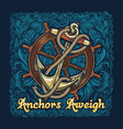 anchor in ropes with ship wheel retro poster vector image vector image