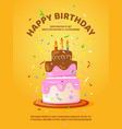 background with birthday cake and candles vector image vector image