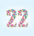 basic cmyk colorful floral 22 number design vector image