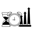 business alarm clock hourglass and arrows up vector image vector image