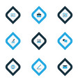business icons colored set with identification vector image vector image
