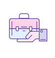 businessman with briefcase portfolio in the palm vector image
