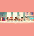 children eat in school canteen vector image