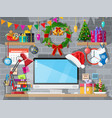 christmas new year office desk workspace interior vector image vector image