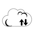 cloud computing upload and download in black and vector image vector image