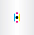 cmyk printing letter x logo icon vector image
