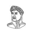 emperor wearing laurel leaf mono line vector image vector image