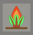 flat shading style icon fire in the forest vector image vector image