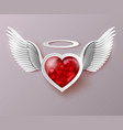 flying hearts with wings vector image vector image