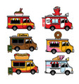 food truck cartoon in set vector image