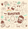 freehand hipster elements set hand drawn vector image