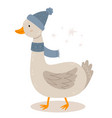 funny goose winter hat new year character vector image