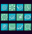 Globe flat icons with long shadows vector image vector image