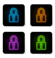 glowing neon open padlock icon isolated on white vector image vector image