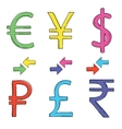 Hand drawing set of currency symbols vector image