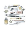 hand drawn art tools and supplies set vector image vector image