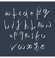 Hand written fresh font stylish drawn alphabet vector image