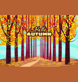 hello autumn autumn alley path in the park fall vector image vector image