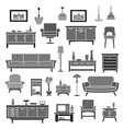 home interior furniture items icons set vector image