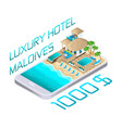 isometric advertising of the resort maldives vector image