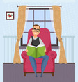 male with book hobreading leisure vector image