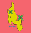 map of zanzibar with palms vector image vector image