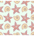 marine seamless pattern with starfish shells vector image