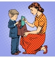 mother help child come to school vector image vector image