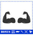 muscular arm icon flat vector image vector image