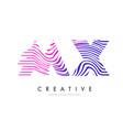 mx m x zebra lines letter logo design with vector image