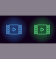 neon cinema film in blue and green color vector image