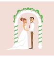 Newlyweds Standing At The Arch Of The Altar At The vector image vector image