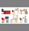 office workplace set interior of the vector image vector image