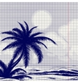 Palm tree and ocean sketch vector image vector image