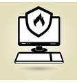 pc laptop virus icon vector image vector image