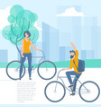 people riding bicycle vector image