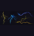 realistic blue and yellow lightning bolts vector image vector image