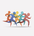 running people set stylized icons and vector image vector image