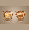 set of deluxe design labels in gold color isolated vector image vector image