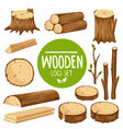 set of wood logs vector image