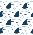 Shark fin in water waves seamless pattern vector image vector image