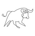 silhouette an attacking running bull drawn vector image vector image