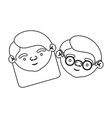 sketch silhouette of face of elderly couple vector image