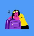 sleep tourism travelling depression mental vector image vector image